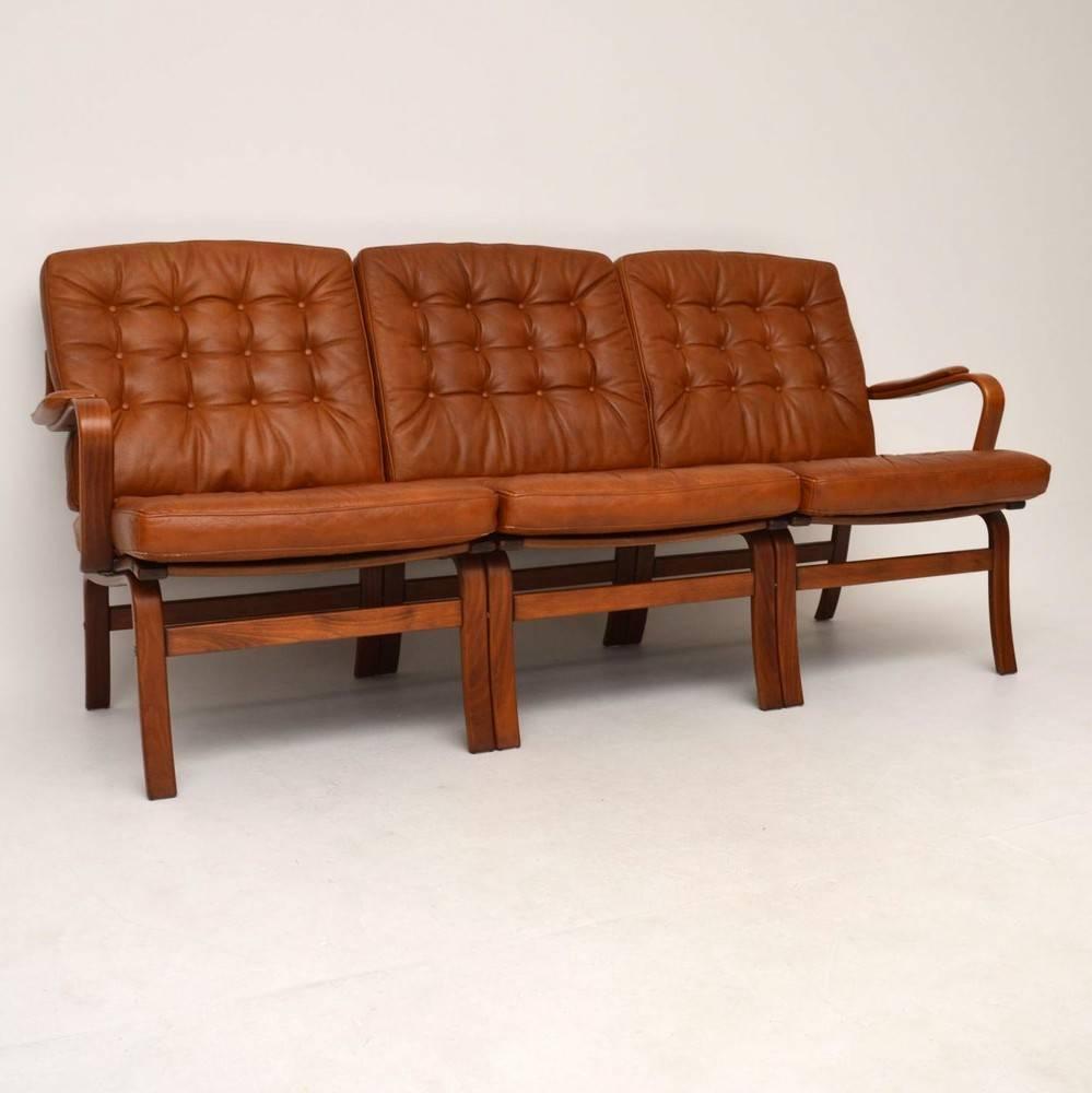 Danish Retro Leather Bentwood Sofa Vintage, 1970s For Sale