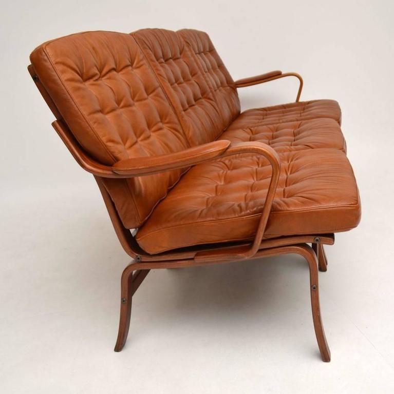 danish retro leather bentwood sofa vintage 1970s at 1stdibs