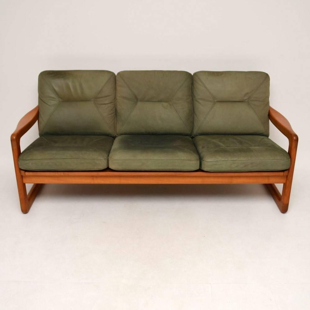 Danish Retro Teak And Leather Three Seat Sofa And Stool