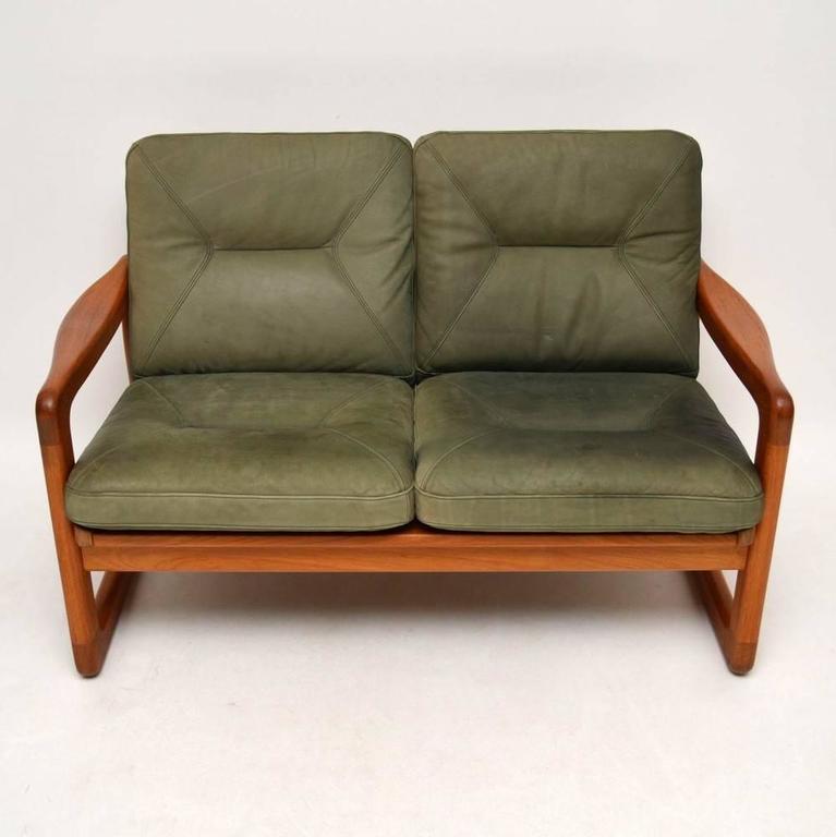 danish retro teak and leather two seat sofa vintage