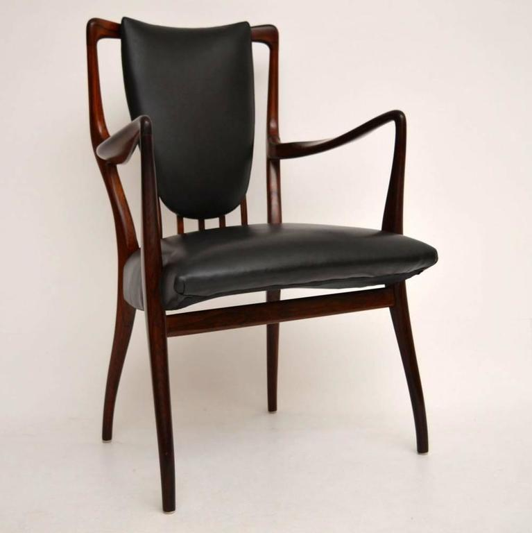Charmant English Rosewood And Leather Retro Armchair By AJ Milne, Vintage, 1940s For  Sale