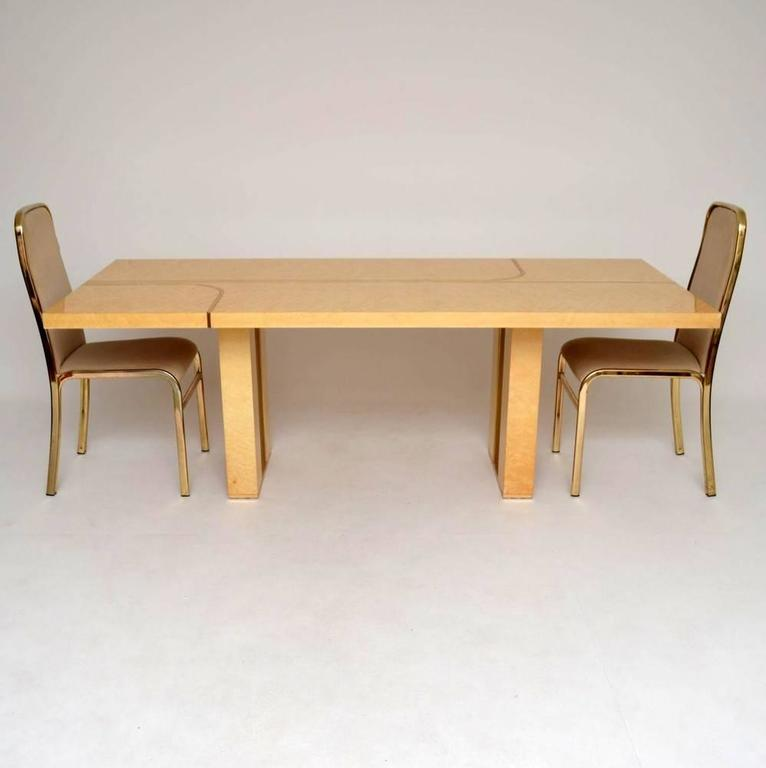 Retro Italian Maple And Brass Dining Table Chairs By Zevi Vintage 1970s 2