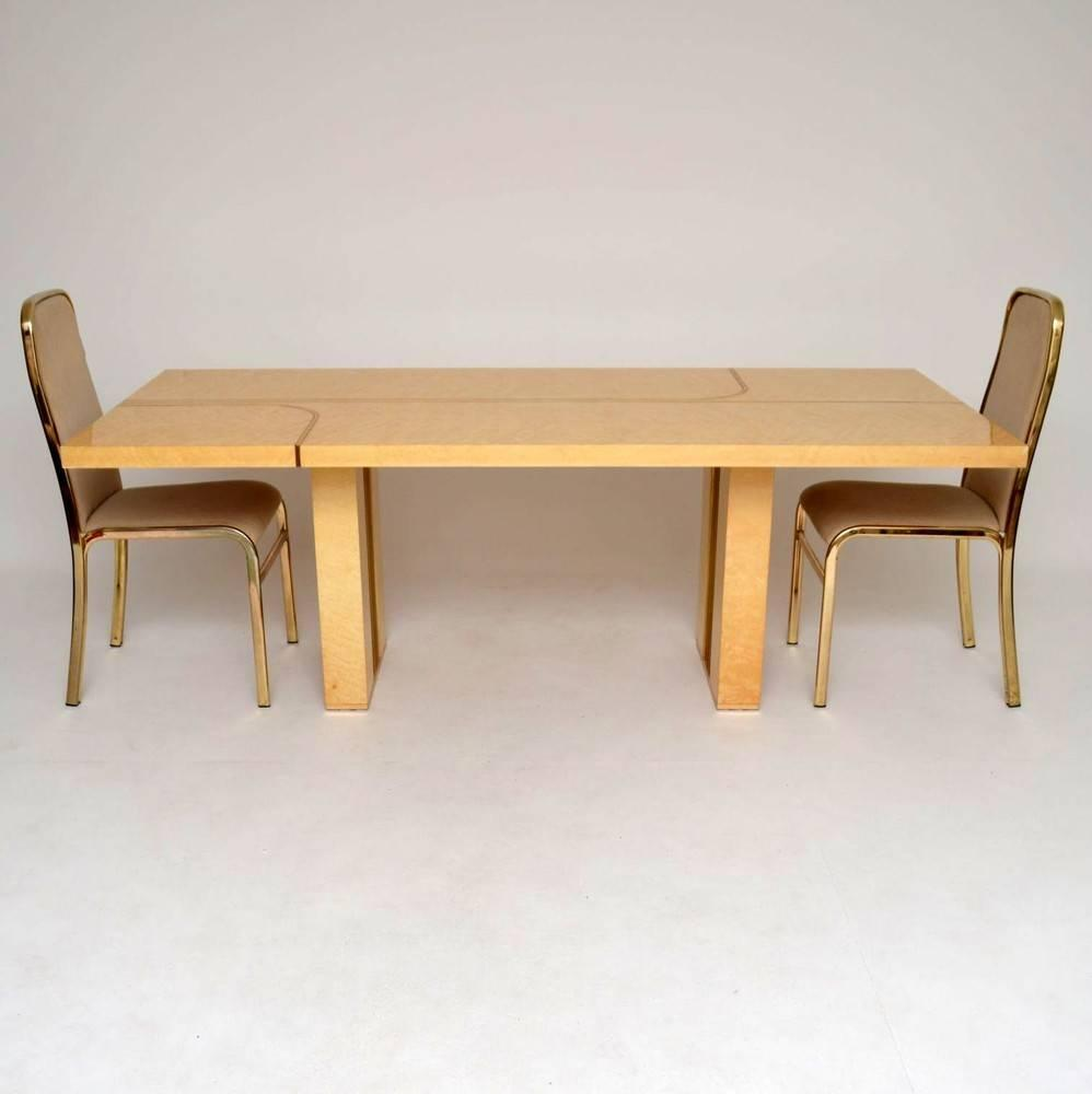 retro italian maple and brass dining table and chairs by zevi vintage 1970s for sale at 1stdibs. Black Bedroom Furniture Sets. Home Design Ideas