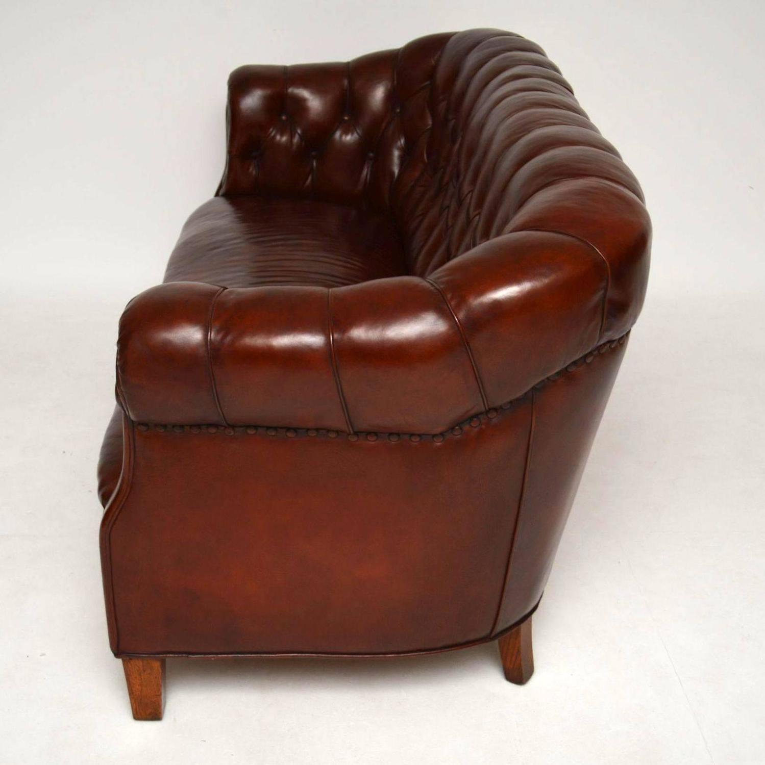 Antique Swedish Leather Chesterfield Sofa For Sale At 1stdibs