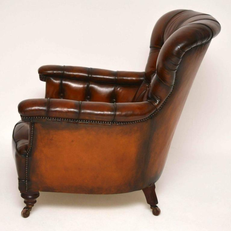 Stunning Antique Victorian Leather Armchair at 1stdibs