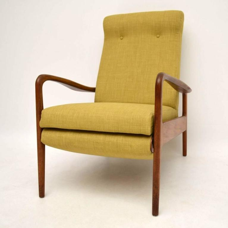 English Retro Teak Reclining Armchair By Greaves U0026 Thomas Vintage, 1960s  For Sale