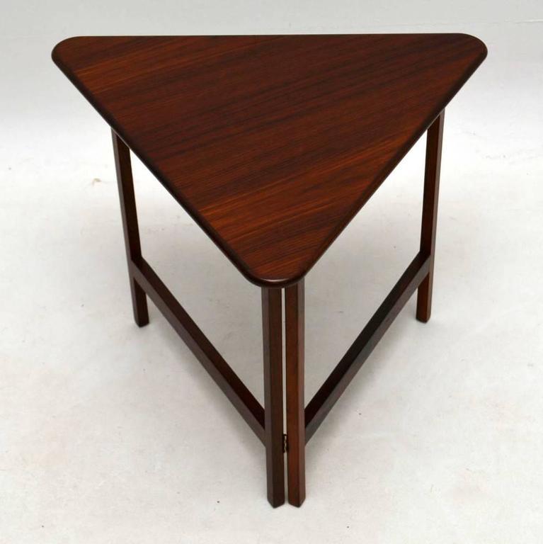 Danish rosewood folding coffee table rare design vintage - Folding glass coffee table ...