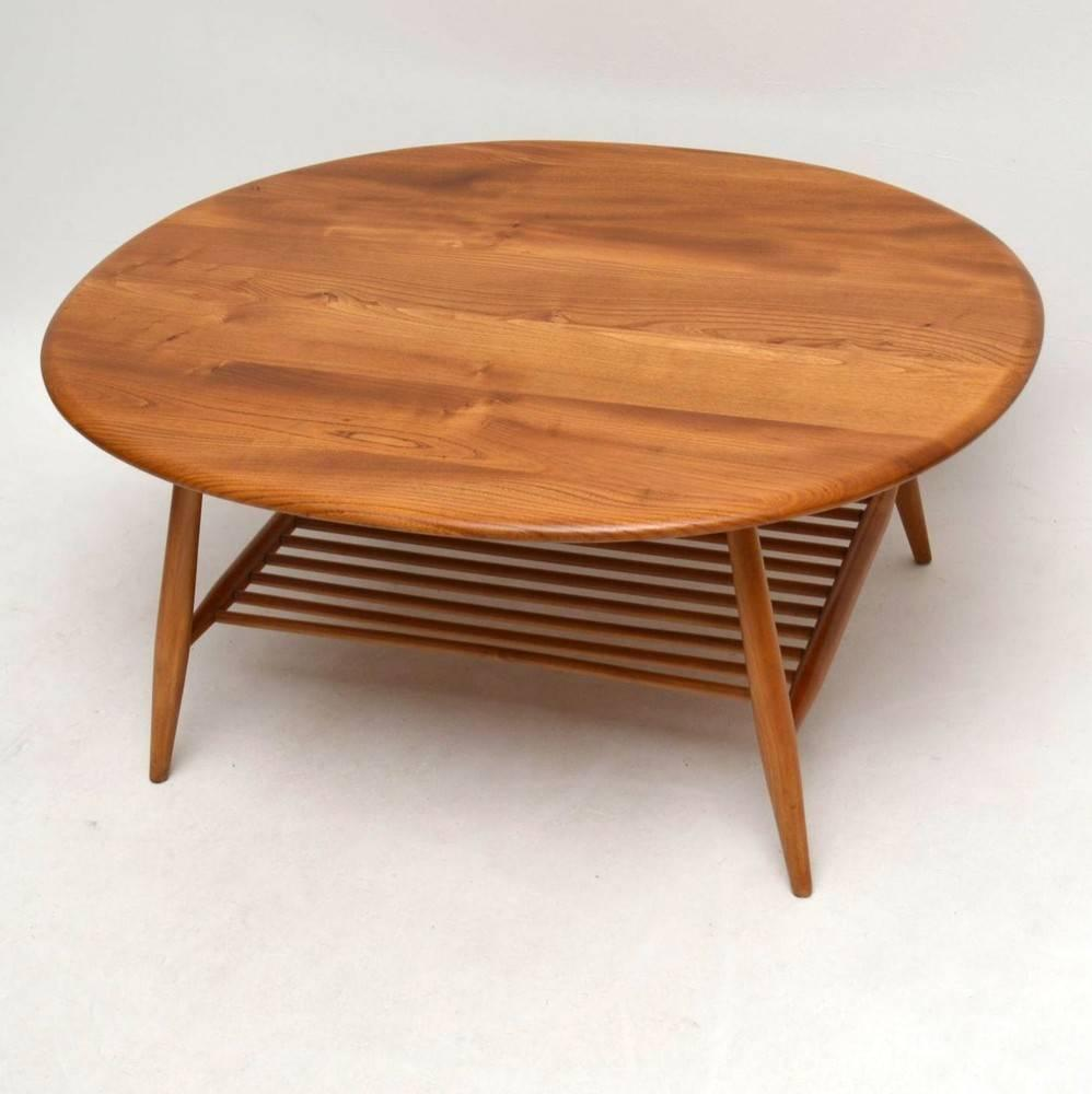 Old Retro Coffee Table: Retro Large Solid Elm Coffee Table By Ercol, Vintage
