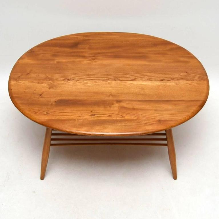 Retro Large Solid Elm Coffee Table By Ercol, Vintage