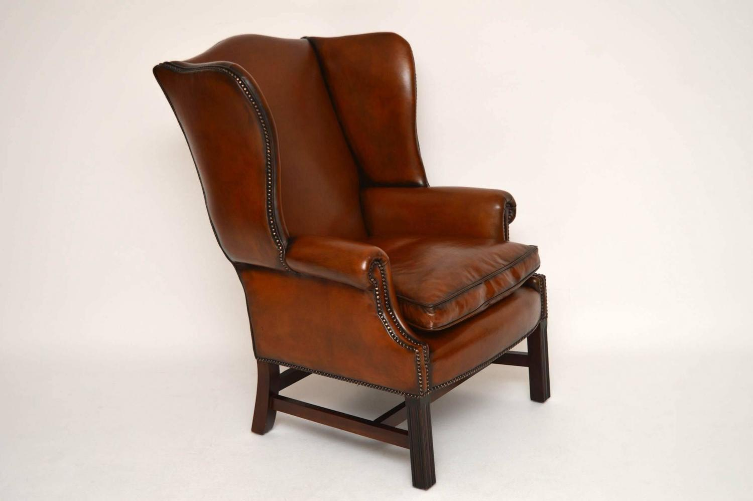 old armchairs for sale pair of antique chippendale style leather wing armchairs 3617