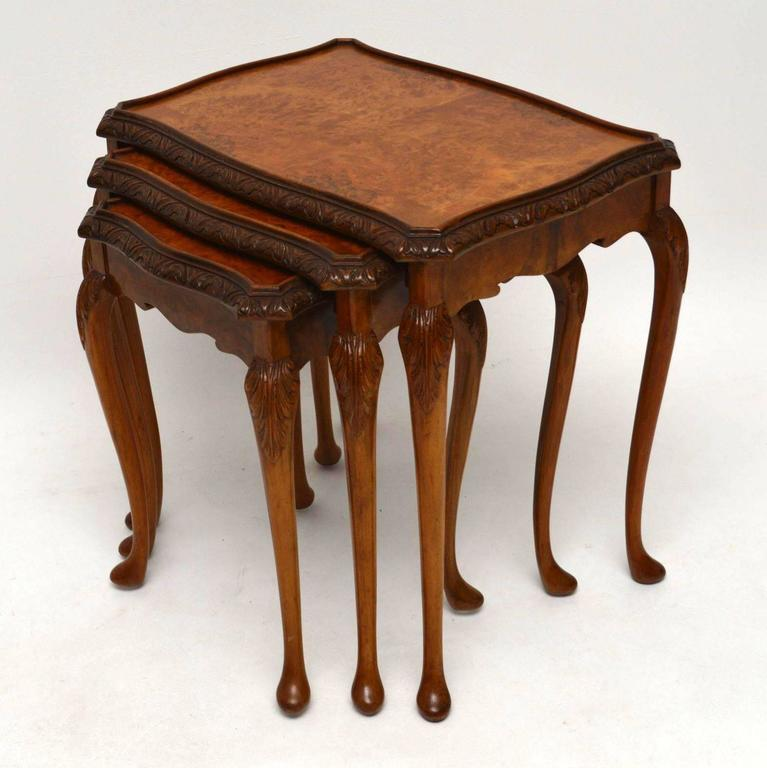 Antique Queen Anne Style Burr Walnut Nest Of Tables 3