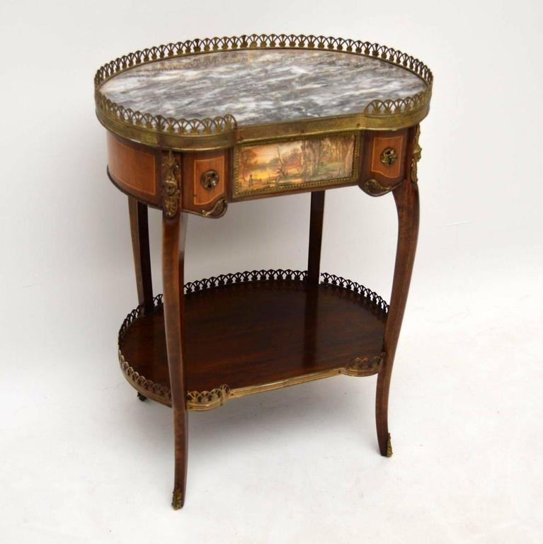 Pair Of Antique French Marble Top Side Tables In Excellent Condition For  Sale In London,