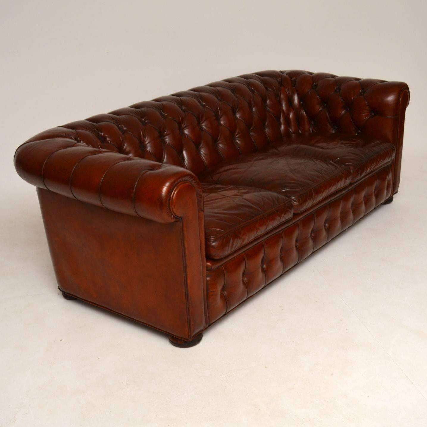 Antique Leather Three Seat Chesterfield Sofa For Sale At