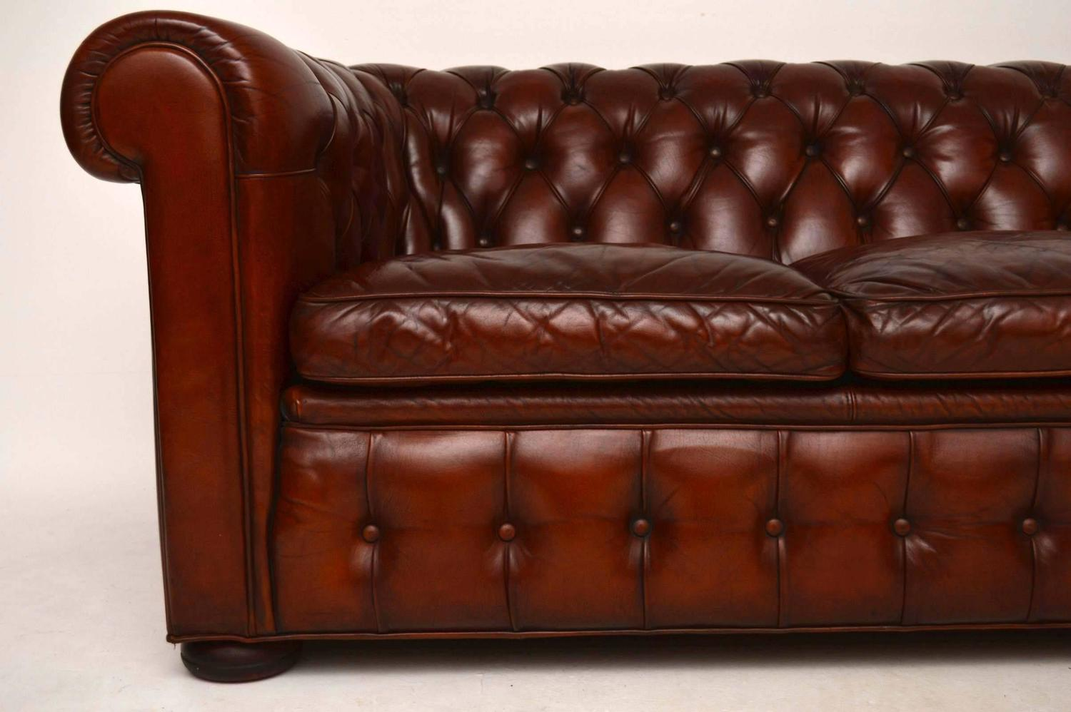 Antique Leather Three Seat Chesterfield Sofa For Sale At 1stdibs
