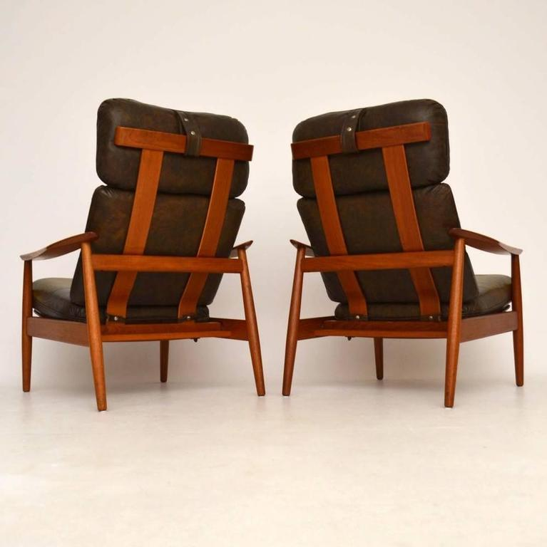 Pair of Danish Leather Reclining Armchairs u0026 Stool by Arne Vodder Vintage ... & Pair of Danish Leather Reclining Armchairs and Stool by Arne ... islam-shia.org