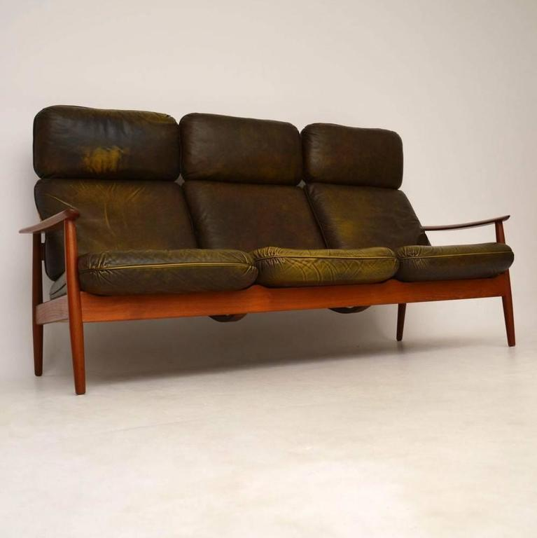 Danish Retro Teak And Leather Sofa By Arne Vodder Vintage 1960s 2
