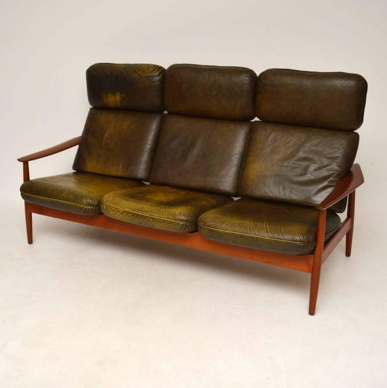 Danish Retro Teak And Leather Sofa By Arne Vodder Vintage 1960s In Excellent Condition For