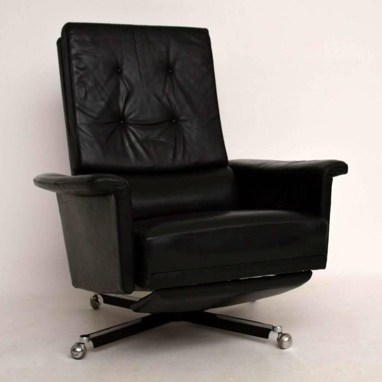 Retro Leather Swivel Reclining Armchair Vintage 1960s at ...