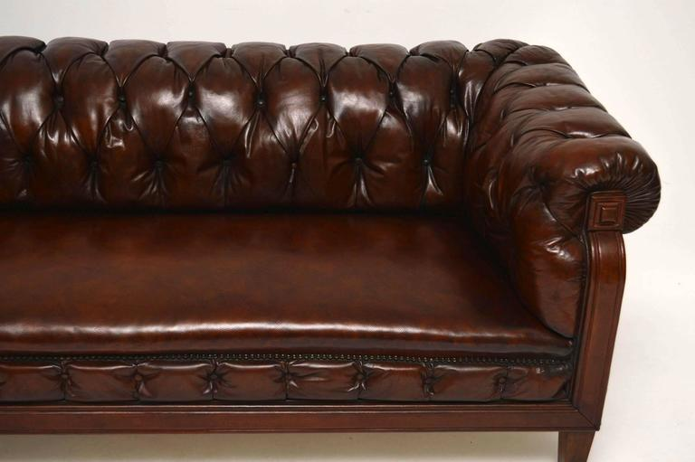 English Antique Swedish Leather Chesterfield Sofa For Sale
