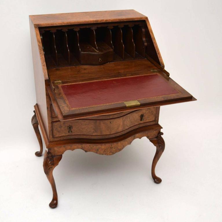 Antique Burr Walnut Writing Bureau Or Desk At 1stdibs