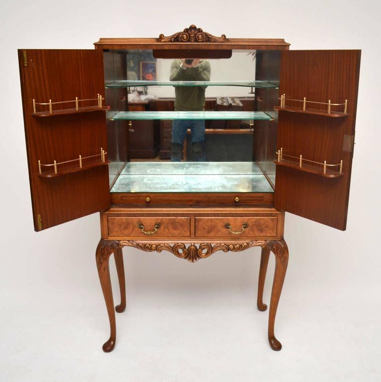 Antique Burr Walnut Cocktail Drinks Cabinet at 1stdibs