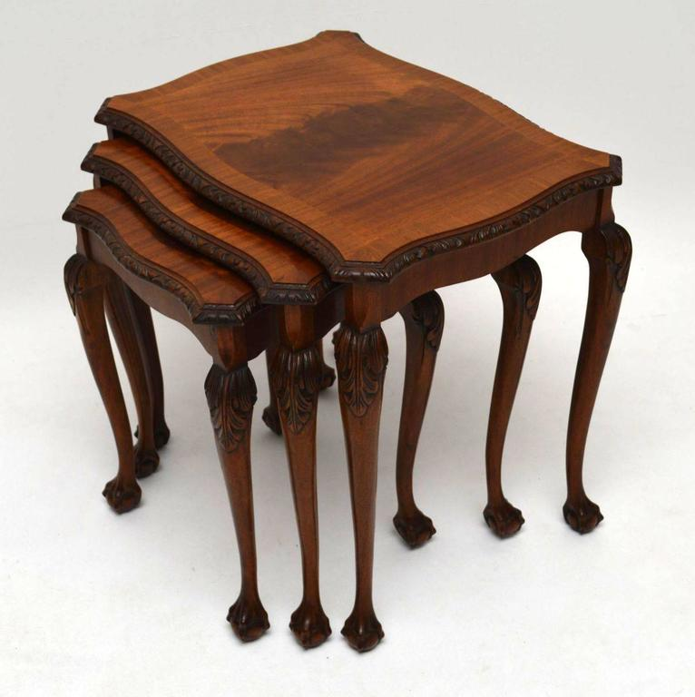 Antique queen anne style mahogany nest of tables at stdibs