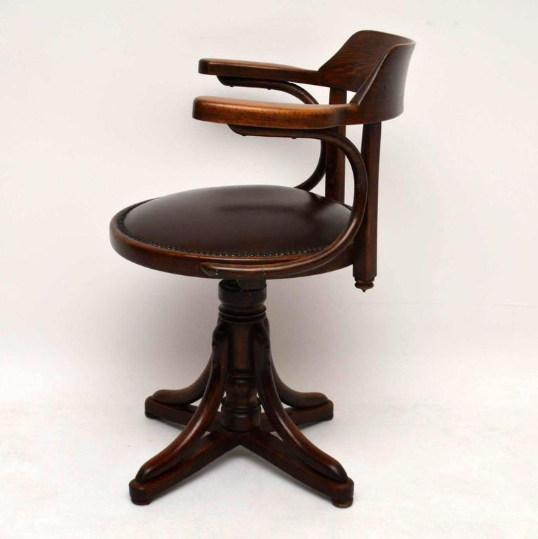 Antique Bentwood and Leather Desk Chair by Thonet 3 - Antique Bentwood And Leather Desk Chair By Thonet At 1stdibs