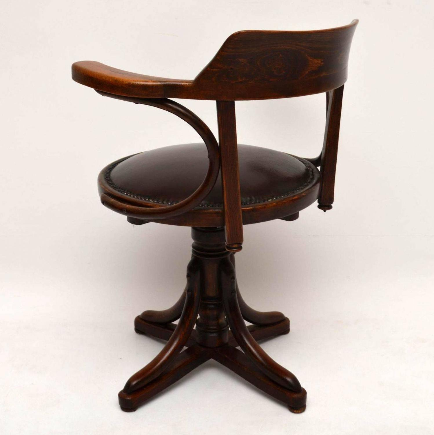 Antique Bentwood And Leather Desk Chair By Thonet At 1stdibs