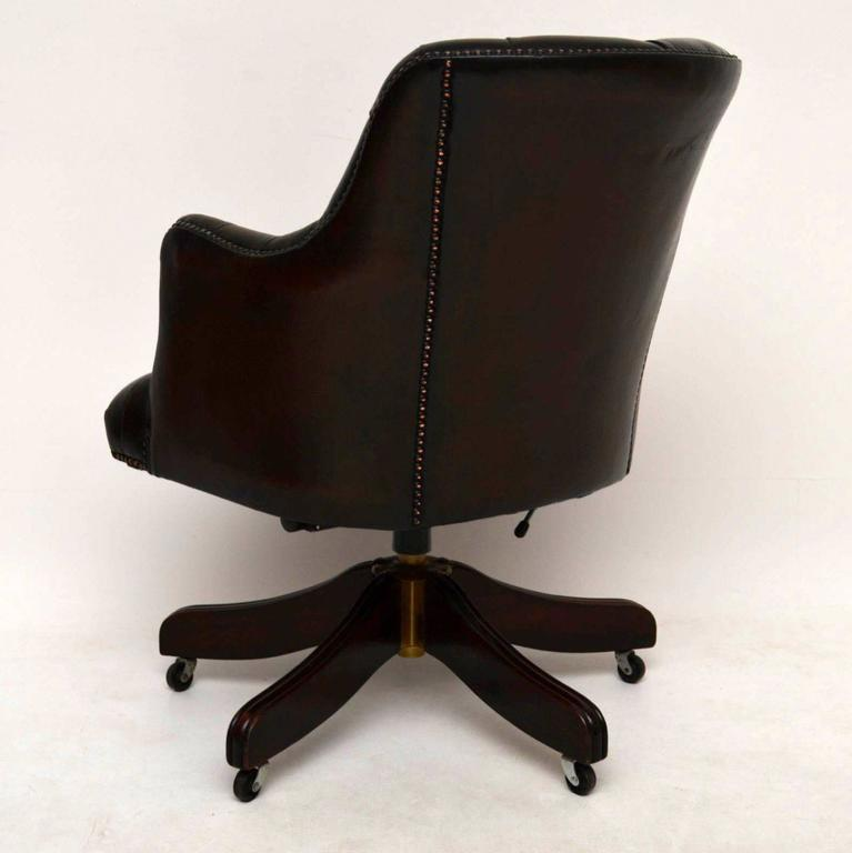 Antique Deep Buttoned Leather Swivel Desk Chair For Sale 4 - Antique Deep Buttoned Leather Swivel Desk Chair At 1stdibs
