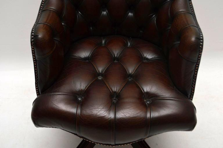 Antique Deep Buttoned Leather Swivel Desk Chair At 1stdibs