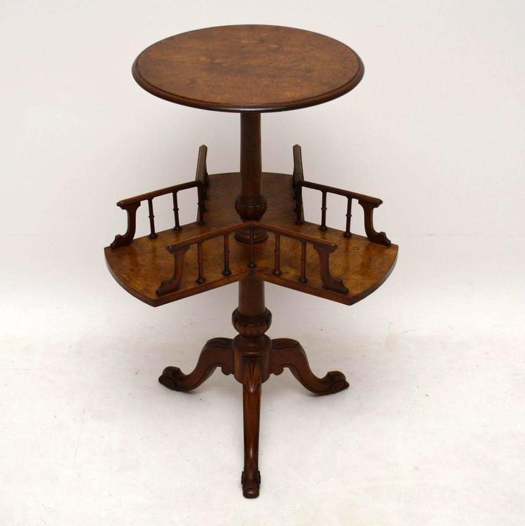 Antique Victorian Burr Walnut Revolving Bookcase / Table 2
