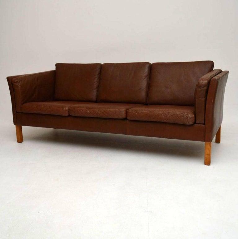 danish retro leather sofa vintage 1960s at 1stdibs