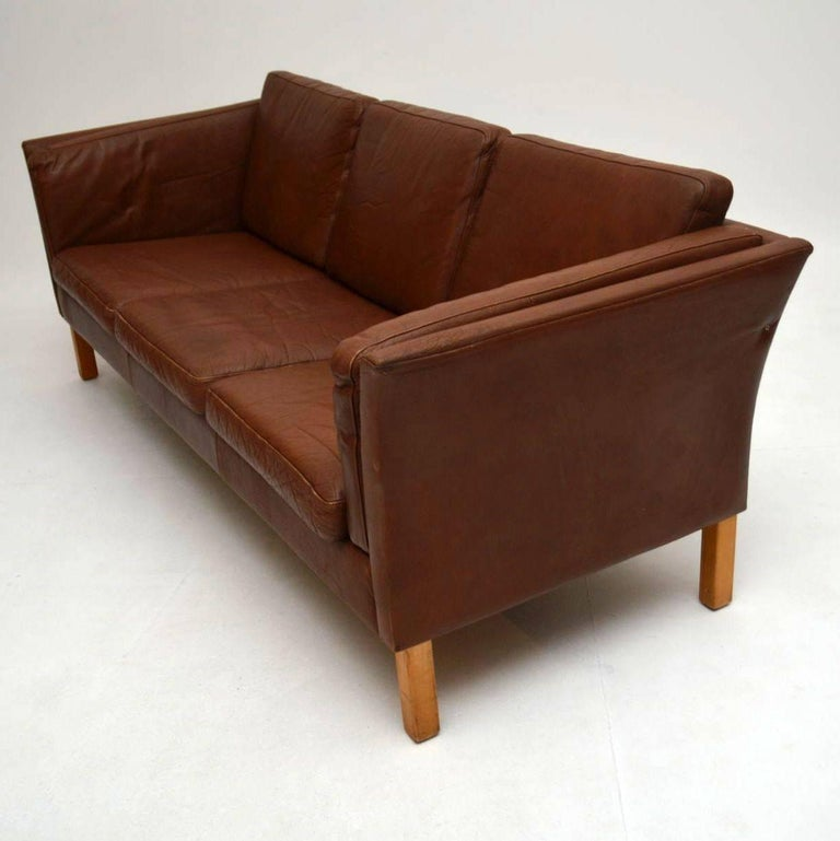 Danish Retro Leather Sofa Vintage 1960s At 1stdibs
