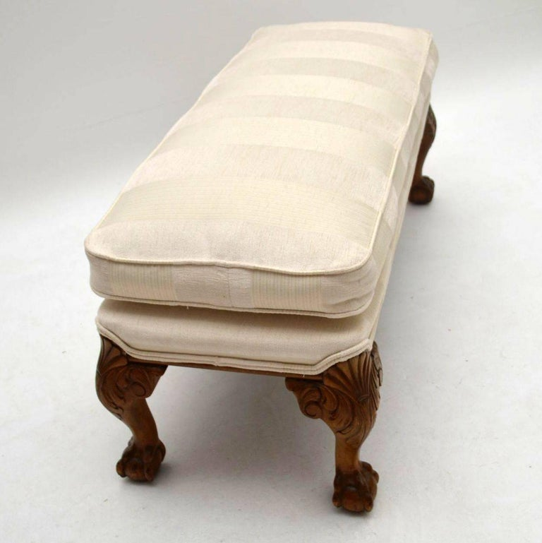 Antique Carved Walnut Upholstered Foot Stool At 1stdibs