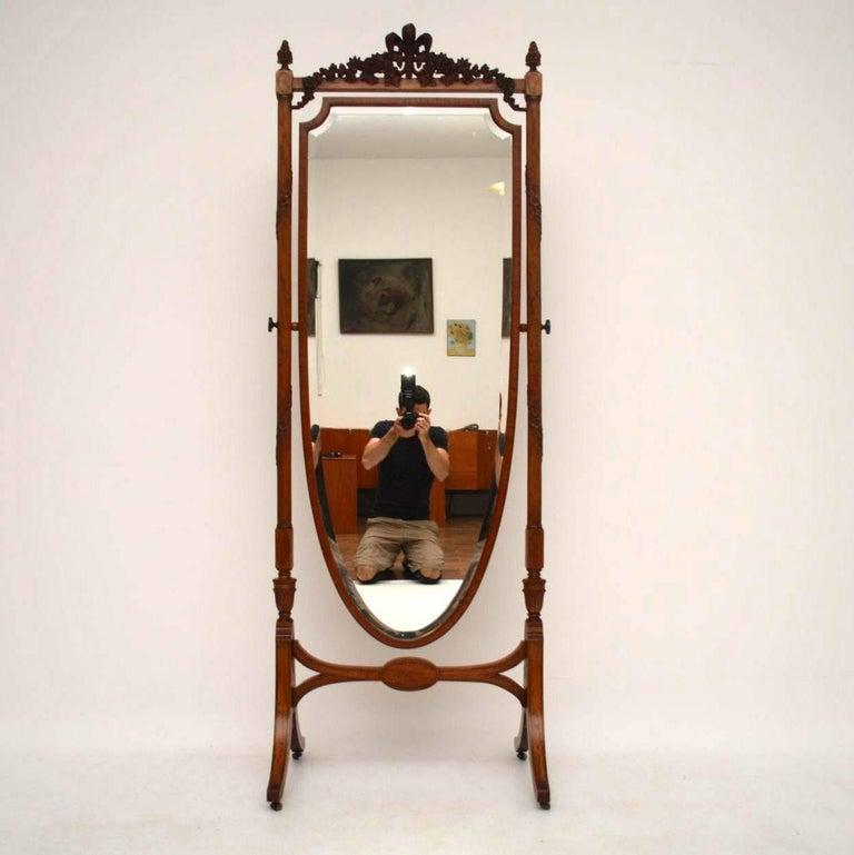 Antique Edwardian Satin Wood Cheval Mirror At 1stdibs