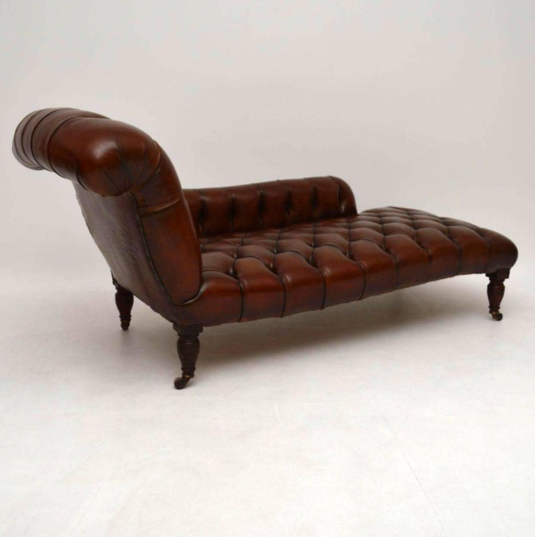 Antique victorian deep buttoned leather chaise longue at for Chaise lounge antique victorian