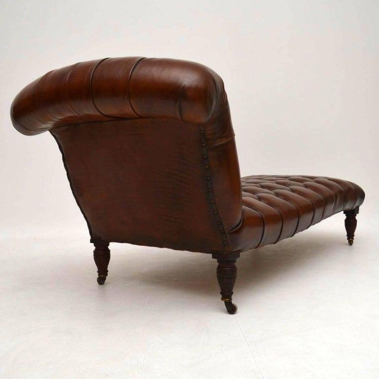 Antique victorian deep buttoned leather chaise longue at for Antique leather chaise lounge