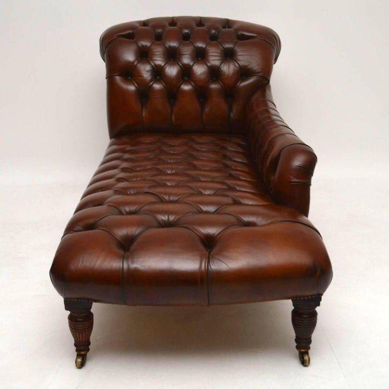 Antique victorian deep buttoned leather chaise longue at for Antique leather chaise