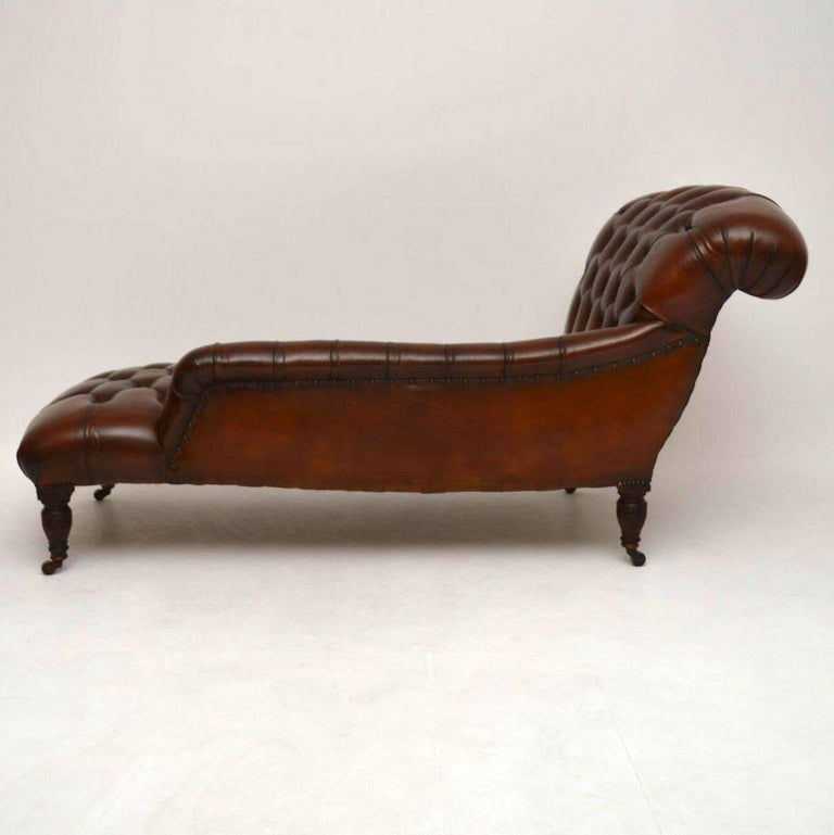 Antique victorian deep buttoned leather chaise longue at for Antique edwardian chaise longue
