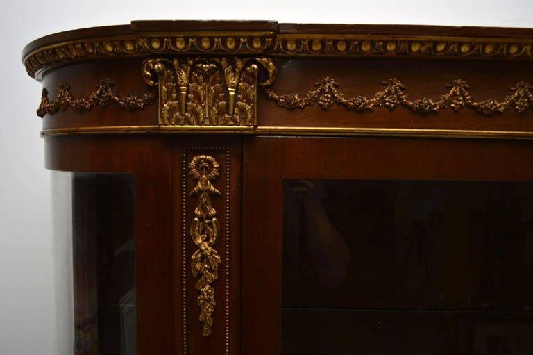 Antique French Ormolu-Mounted Mahogany Display Cabinet For