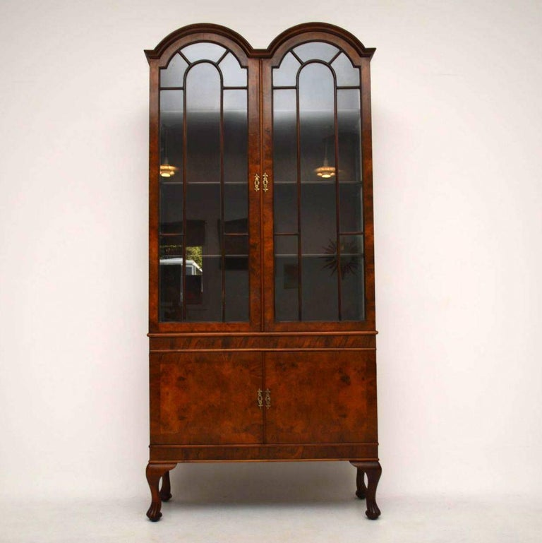 Antique Queen Anne Style Burr Walnut Display Cabinet At