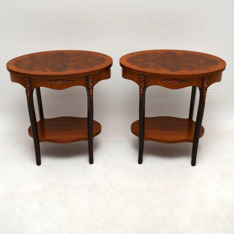 Pair of antique french walnut side or lamp tables at 1stdibs pair of antique oval french style side tables that are the ideal height for lamp tables aloadofball Image collections