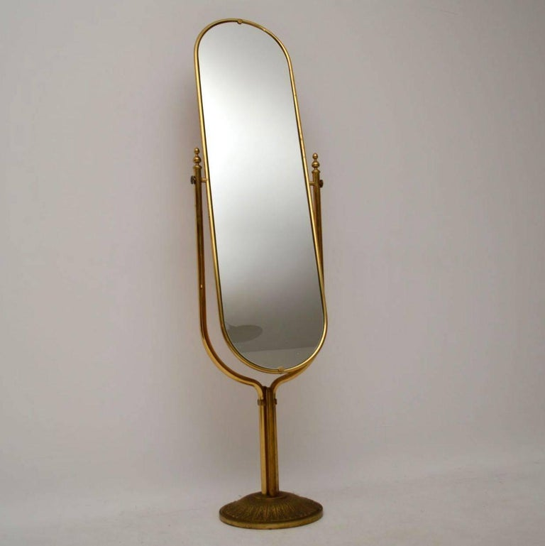 1950s vintage italian brass cheval mirror for sale at 1stdibs for Vintage floor length mirror