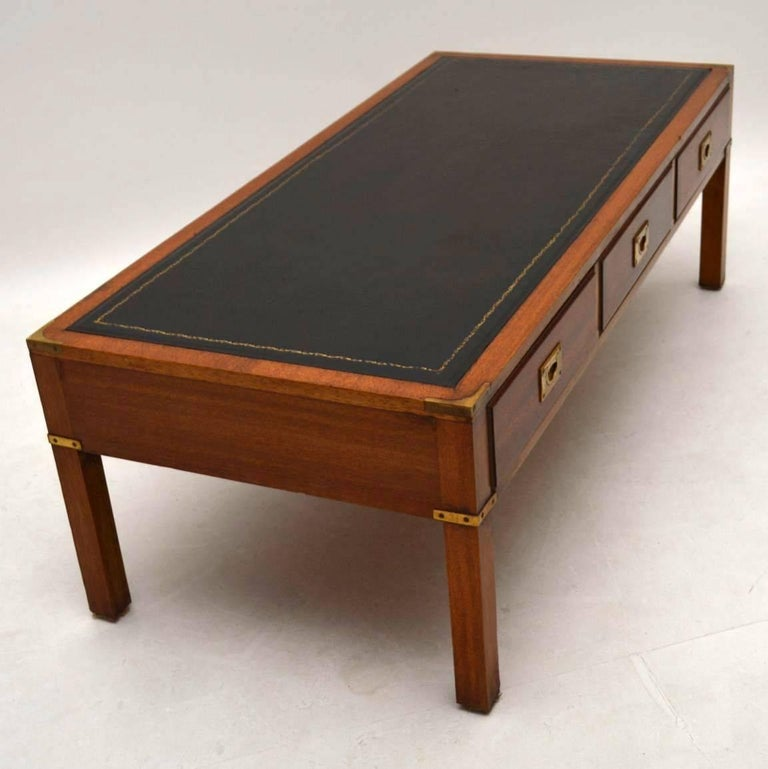 Antique Campaign Style Mahogany Coffee Table At 1stdibs