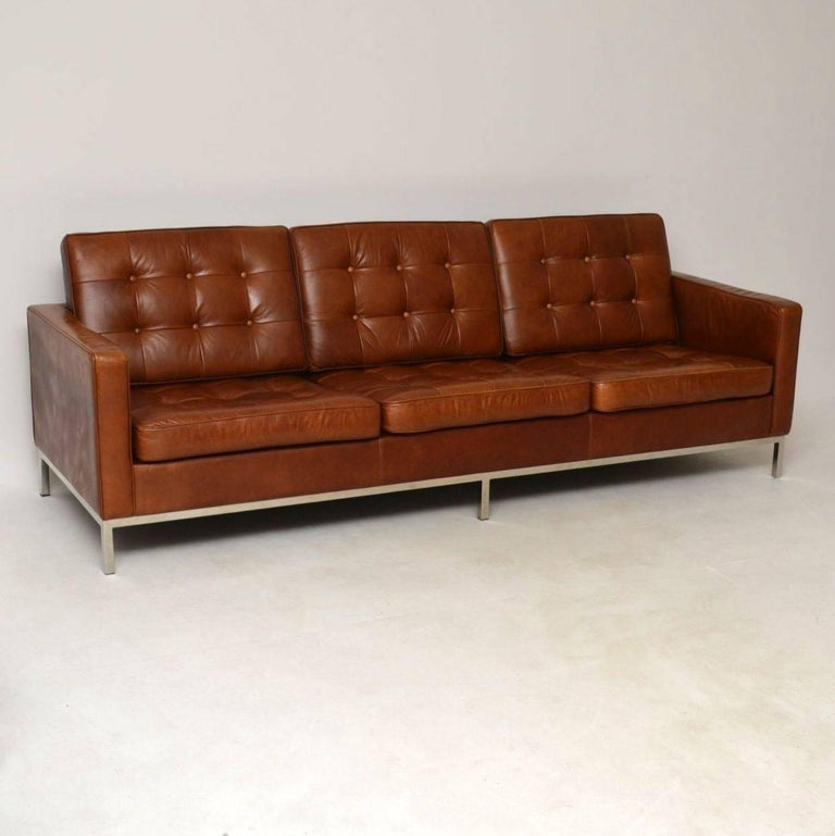 Mid Century Modern Vintage Florence Knoll Leather And Chrome Sofa For