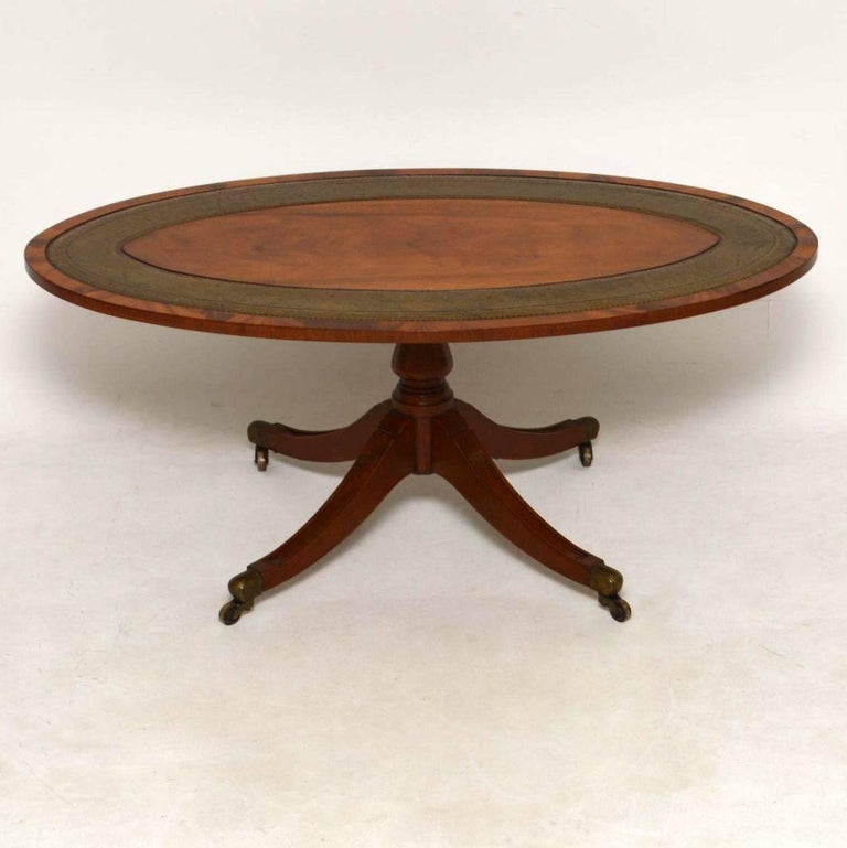 Antique Mahogany And Leather Coffee Table For Sale At 1stdibs