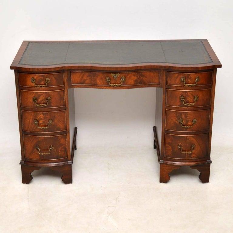 Regency Antique Mahogany Leather Top Pedestal Desk For Sale - Antique Mahogany Leather Top Pedestal Desk At 1stdibs