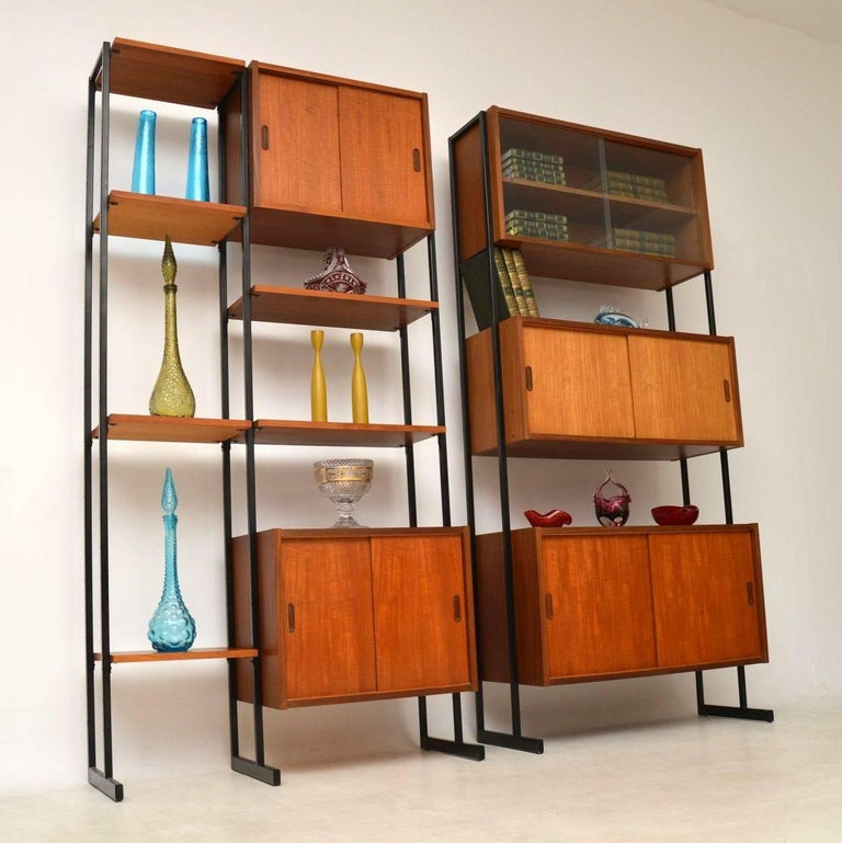 Mid Century Modern 1960s Vintage Pair Of Teak Wall Units Room Divider Cabinets For