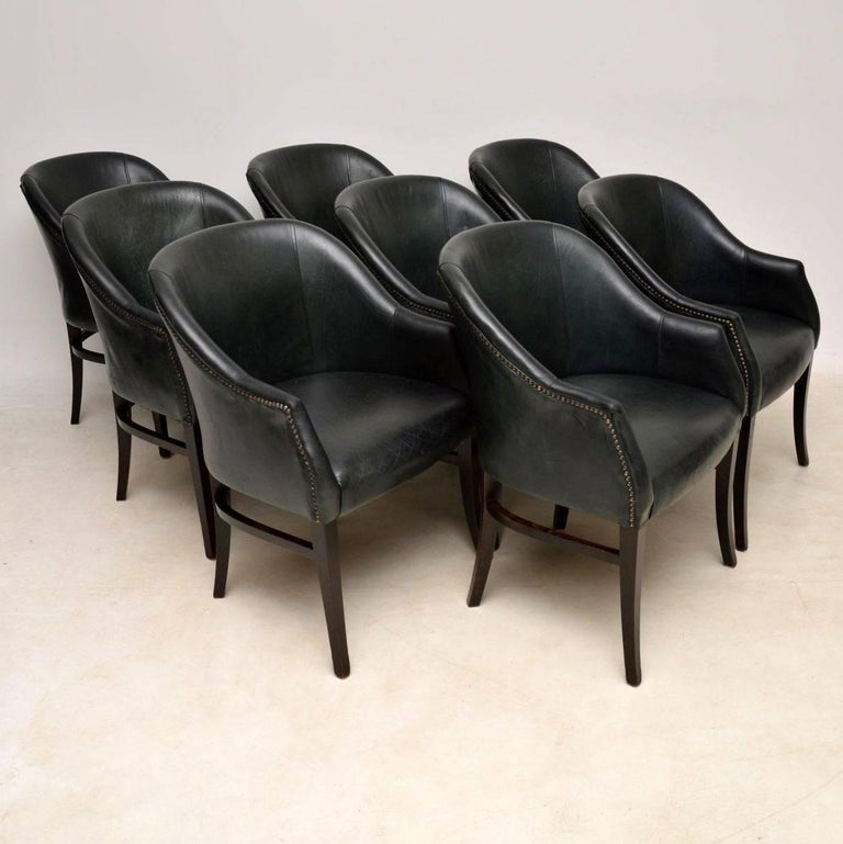A Beautiful Set Of Eight Vintage Leather Tub Dining Chairs These Date From Around The