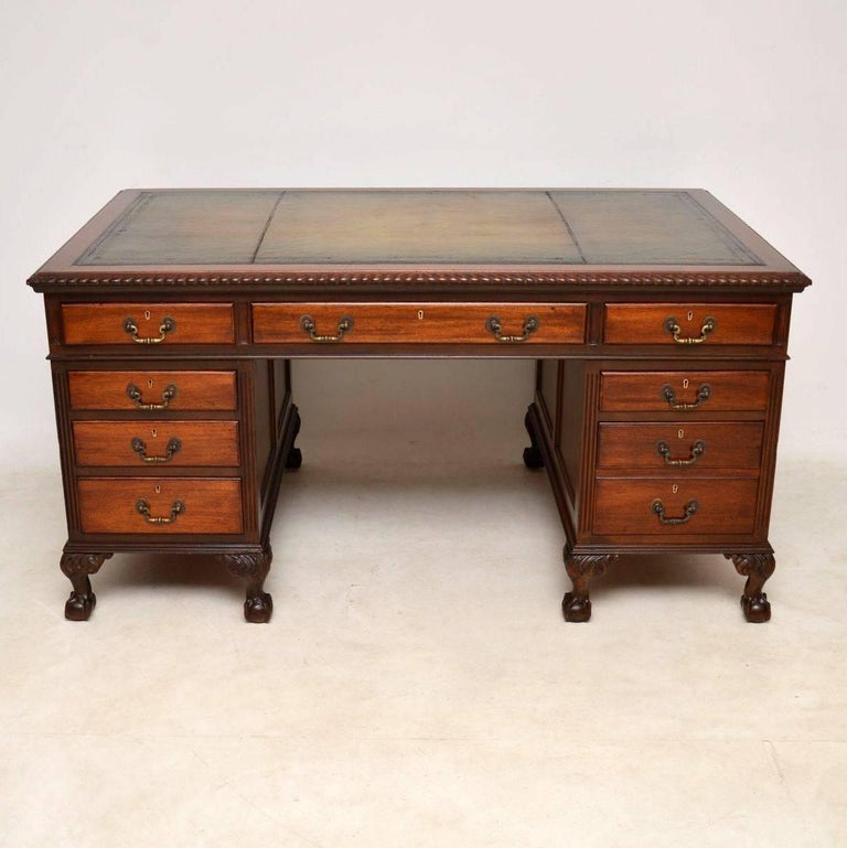 Victorian Antique Mahogany Leather Top Pedestal Desk For Sale - Antique Mahogany Leather Top Pedestal Desk At 1stdibs
